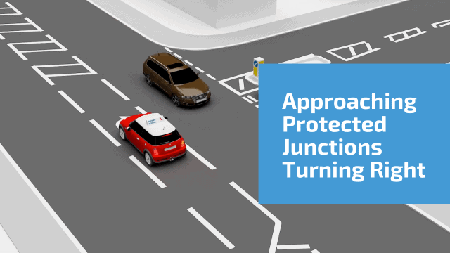 Approaching junctions turning right using protected turn box