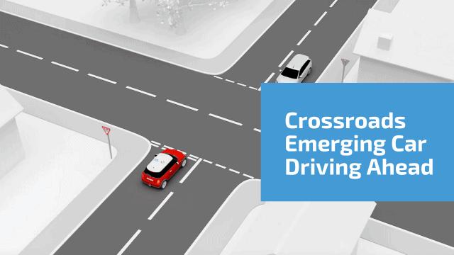 Crossroads Emerging Car Driving Ahead