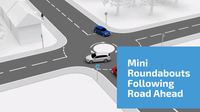 Mini roundabouts following road ahead 2nd exit