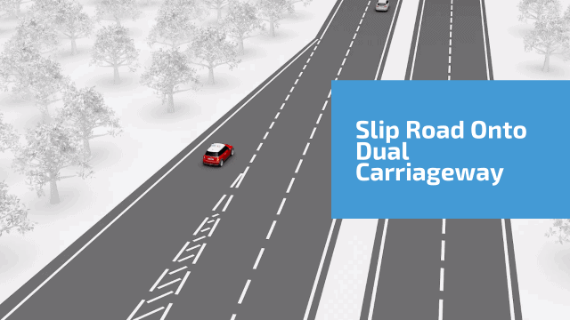 Slip road onto dual carriageway increase/decrease speed to fit in with the flow of traffic