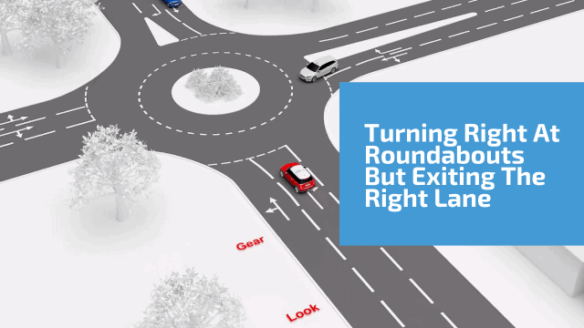 Turning right at roundabouts but exiting in the right lane